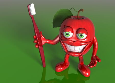 Illustration of a cartoon red apple with a big toothbrush and white teeth illustration