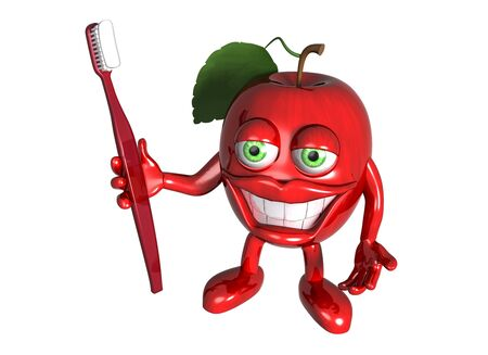 Isolated illustration of a cartoon red apple with a big toothbrush and white teeth illustration
