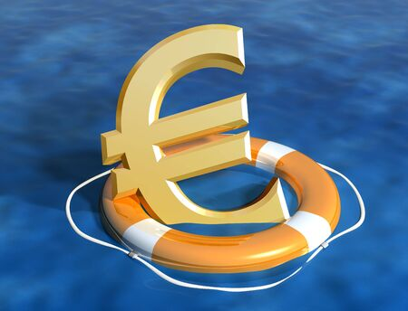 credit crunch: Illustration of the sinking euro being saved