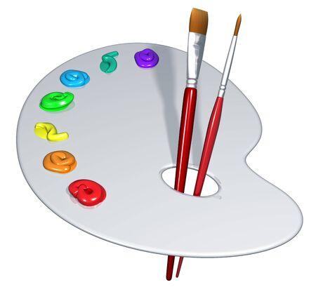 Illustration of an isolated artist palette with brushes