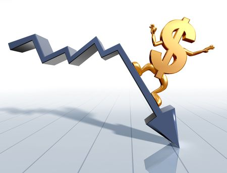 Illustration of a dollar symbol surfing a downward chart illustration