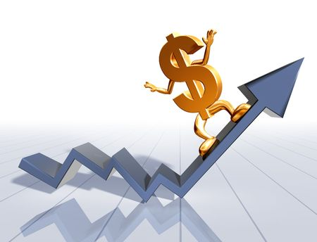increase: Illustration of a dollar symbol surfing an upward graph