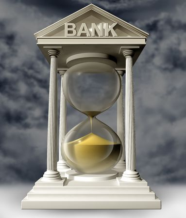 credit crisis: Illustration of a bank in the form of a symbolic hourglass with the sand running out Stock Photo