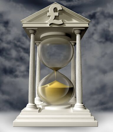 liquidity: Illustration of a pound hourglass with the sand running out