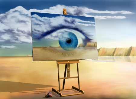 Original surreal landscape with a painting of a surreal landscape