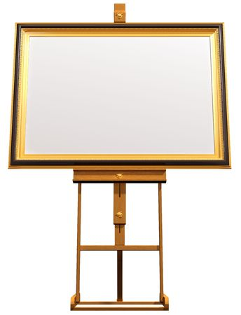 blanked: Illustration of a blanked framed picture resting on an artist easel