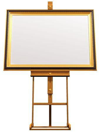 framed: Illustration of a blanked framed picture resting on an artist easel