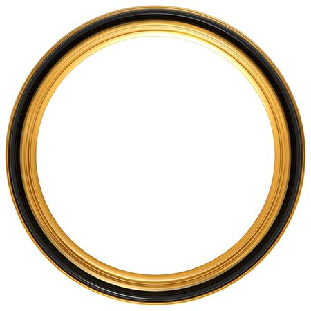 gold picture frame: Isolated illustration of a circular Georgian picture frame