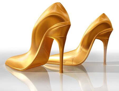 Illustration of a pair of elegant gold high heel shoes Stock Illustration - 4804693