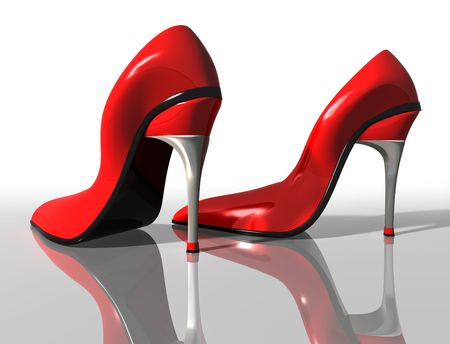 3d nude: Illustration of a pair of elegant red high heel shoes Stock Photo