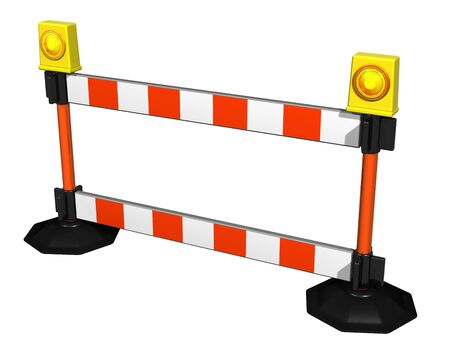 road works: Isolated illustration of a striped construction barrier Stock Photo