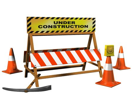 road closed: Isolated illustration of a barrier with an Under Construction sign Stock Photo