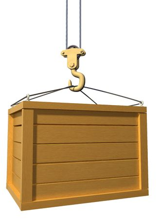 work crate: Isolated illustration of a crane lifting a wooden box