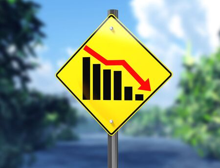credit crunch: Illustration of a chart on a signpost showing a downward trend Stock Photo
