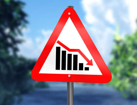 downward: Illustration of a chart on a signpost showing a downward trend Stock Photo