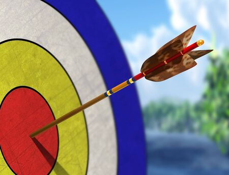 target arrow: Illustration of an arrow in the centre of its target Stock Photo