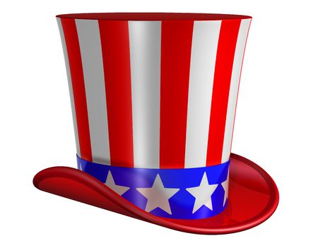 top hat: Splendid top hat for Uncle Sam decorated with stars and stripes
