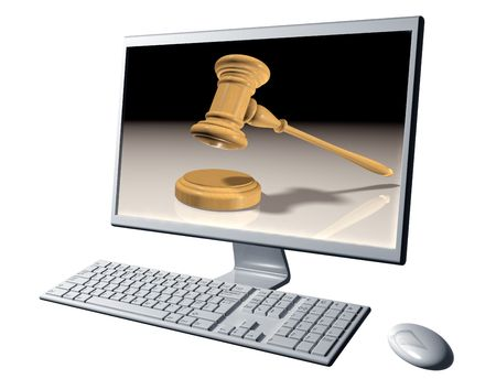Isolated illustration of a desktop computer representing Internet auctions Stock Illustration - 4913446
