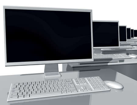 desktop computers: Illustration of desktop computers lined up in an office environment