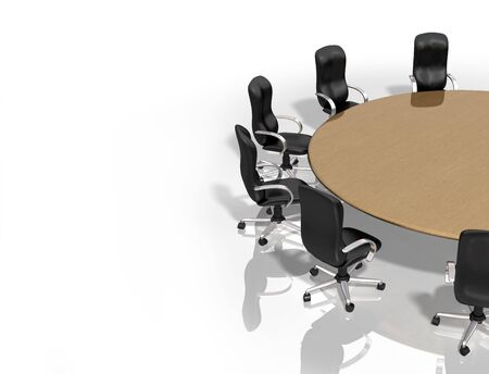boardroom meeting: Illustration of a round table surrounded by chairs