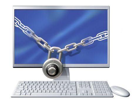 combination lock: Isolated illustration of a computer secured with a large chain and padlock Stock Photo
