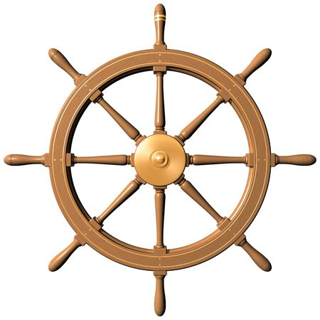 3d boat: Isolated illustration of a traditional ships wheel