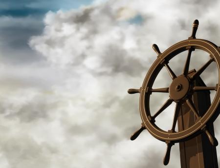 Illustration de la roue navires: un à un angle oblique sur une journée nuageuse Banque d'images - 5008499