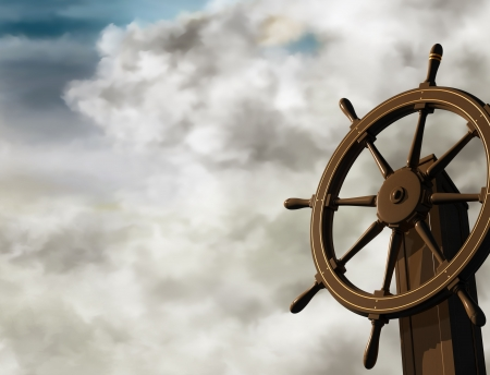 Illustration of a ships wheel at an oblique angle on a cloudy day