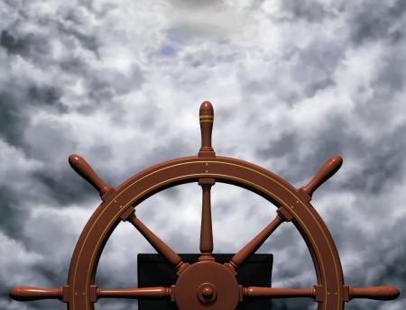 timon de barco: Ilustraci�n de una rueda de buques un curso constante a trav�s de aguas bravas de la direcci�n  Foto de archivo