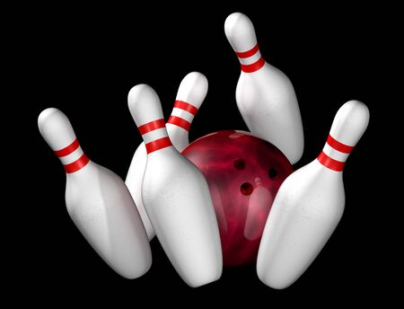 Illustration of bowling ball and pins isolated on black Stock Illustration - 5060536