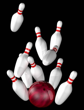 bowling ball: Illustration of bowling alley strike isolated on black