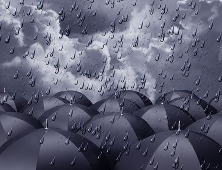 rainy: Stylized illustration of umbrellas beneath a rainy sky