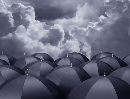 Stylized illustration of umbrellas beneath a stormy sky illustration
