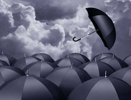 flyaway: Stylized illustration of a runaway brolly on a stormy day