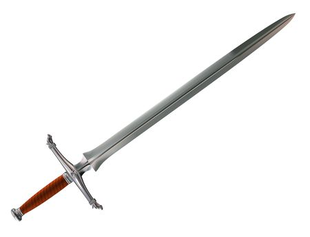 fantasy sword: Isolated illustration of a foreboding Norman battle sword Stock Photo