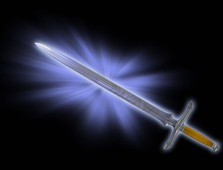 medieval sword: Illustration of a magical fantasy Knight sword Stock Photo