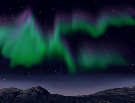ionosphere: Illustration of the amazing aurora borealis phenomena