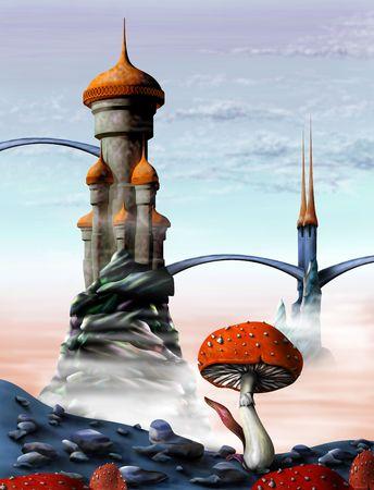 bollwerk: Illustration einer Phantasie Burg in einer fremden Welt