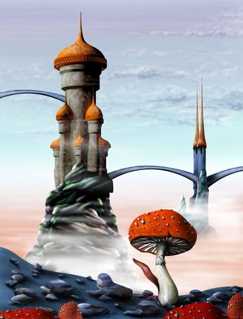 Illustration of a fantasy castle in an alien world illustration