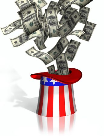 hundred dollar bill: Illustration of money falling into Uncle Sam top hat