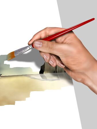 Illustration of an artist painting a landscape Stock Illustration - 5282473