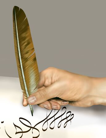 Illustration of a person signing a document with a feather quill illustration