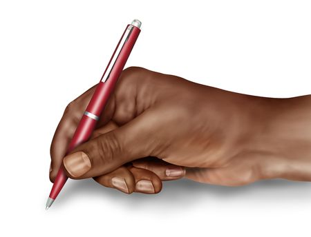 Illustration of a man about to sign a document illustration