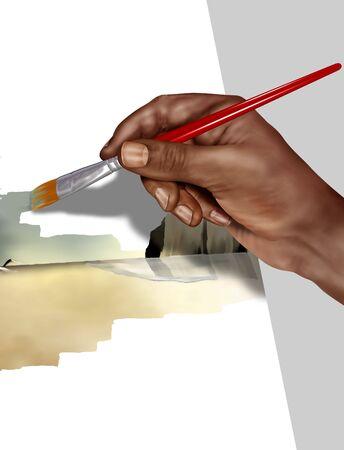 Illustration of an artist painting a landscape illustration