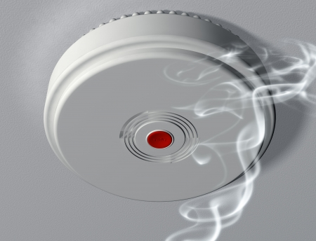 house fire: Illustration of a smoke alarm warning of a fire
