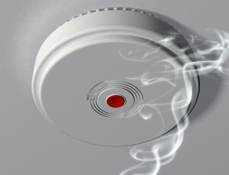 burning: Illustration of a smoke alarm warning of a fire