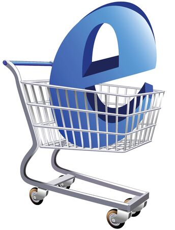 Illustration of a shopping cart with a large E symbol representing ecommerce Stock Illustration - 5353970