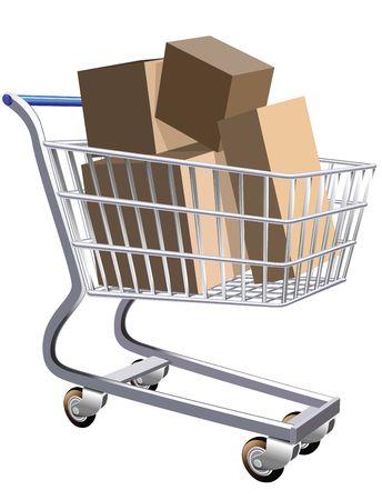 full shopping cart: Illustration of a shopping cart full of parcels