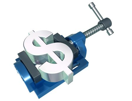 Isolated illustration of a dollar symbol being squeezed in a vice Stock Illustration - 5377395