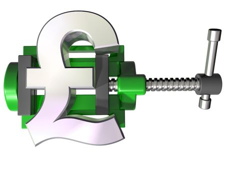squeezing: Isolated illustration of a pound symbol being squeezed in a vice Stock Photo